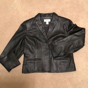 Black Leather short jacket/blazer